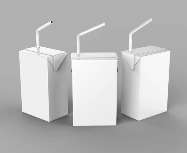 Blanc de rendu réaliste pour maquettes modèle design emballage vide de jus & lait blanc Tetra paquet Carton avec de la paille. Illustration 3D - Photo
