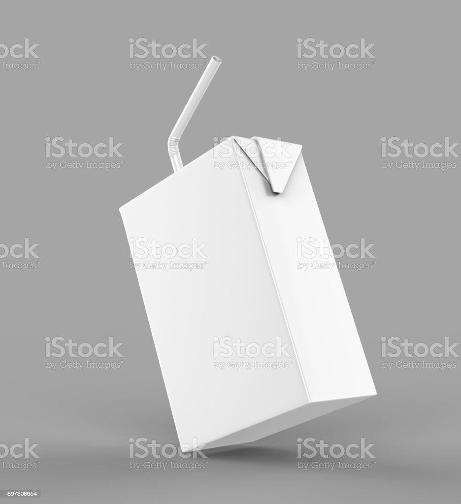 Em branco branco Tetra pacote suco & leite cartonada com palha branco renderização realista para simulação modelo de design. Ilustração 3D - foto de acervo