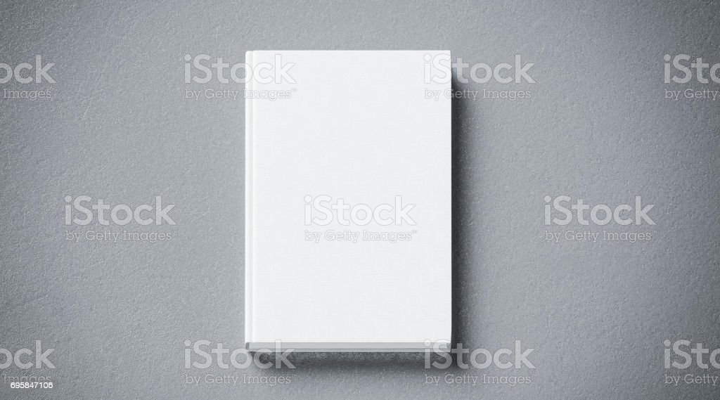 Blank white tissular hard cover book mock up, front side view stock photo