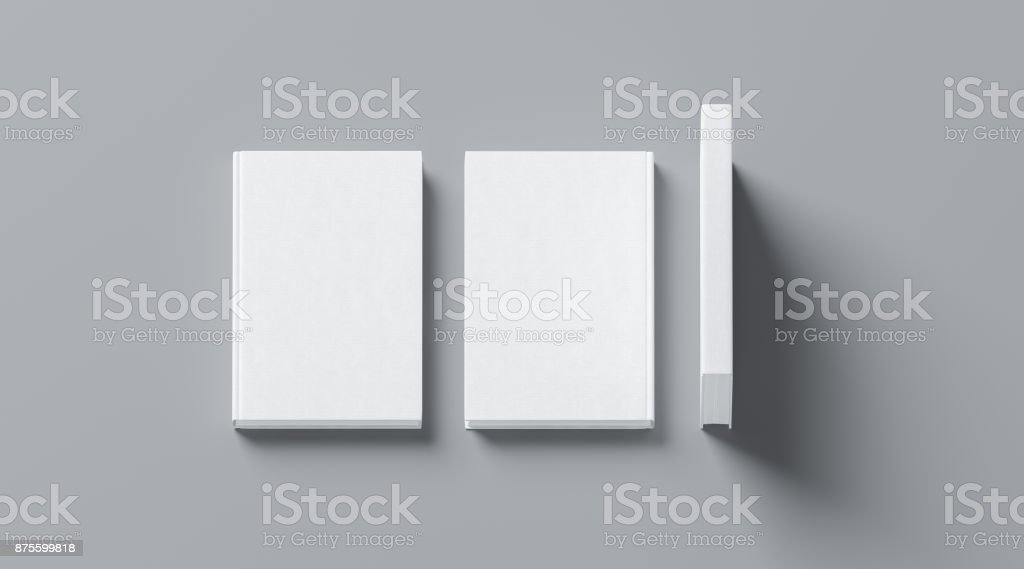 Blank white tissular hard cover book mock up, front, spine stock photo
