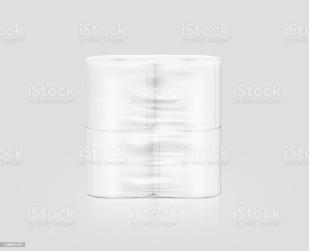 Rolo de papel em branco branco sanitário embalagem do modelo, isolados, Traçado de Recorte - foto de acervo