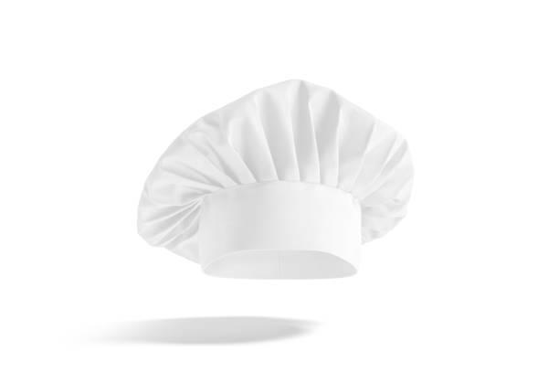 Blank white toque chef hat mockup, no gravity stock photo