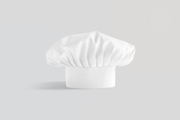 Blank white toque chef hat mockup stand, gray background stock photo