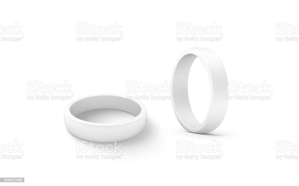 Blank white torus shape mockup set, 3d rendering stock photo