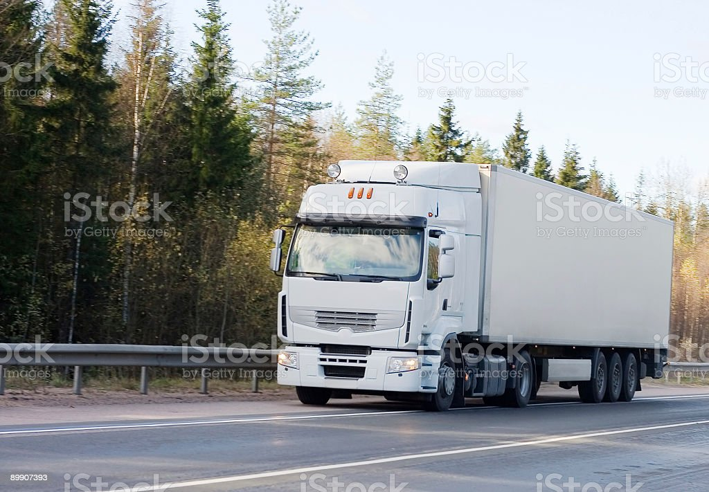 blank white tractor  trailer truck royalty-free stock photo