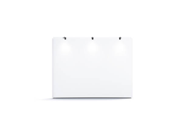 Blank white trade show wall mock up, front view stock photo