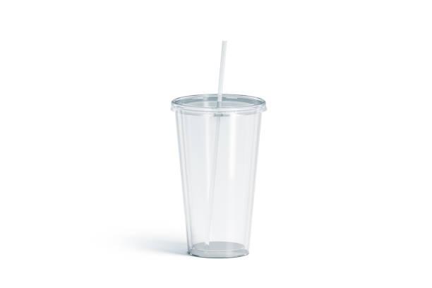 blank white transparent acrylic tumbler with straw mockup, isolated - palha imagens e fotografias de stock