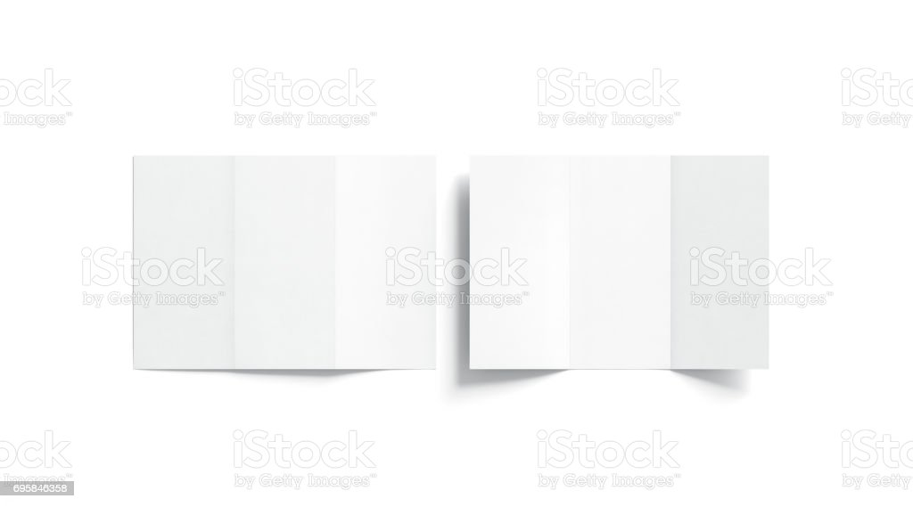 Blank white tri folded booklet mock up, opened and closed stock photo