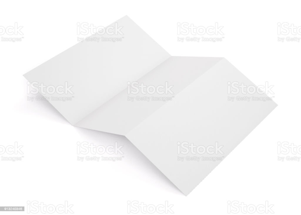 Blank white tri folded booklet mockup isolated on white background. Empty template booklet for your design. 3d rendering. stock photo