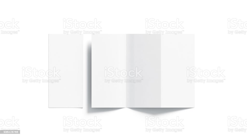 Blank white tri folded booklet mockup, opened and closed stock photo
