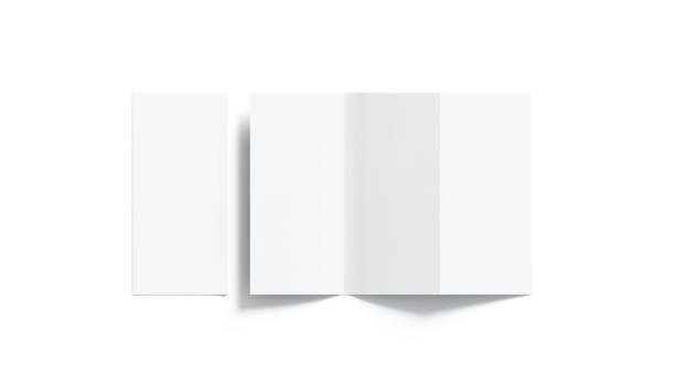 tri de blanco en blanco doblado maqueta del folleto, abierto y cerrado - flyer fotografías e imágenes de stock