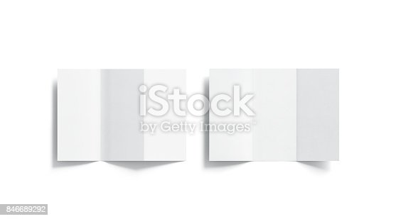 1221251713 istock photo Blank white tri folded booklets mockups set, opened top view 846689292