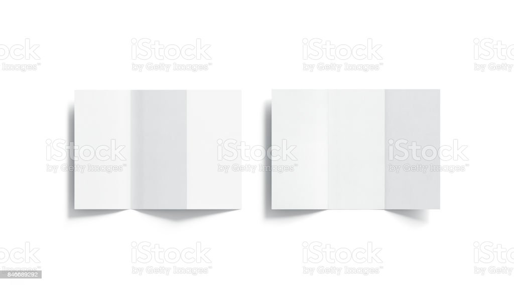 Blank white tri folded booklets mockups set, opened top view stock photo