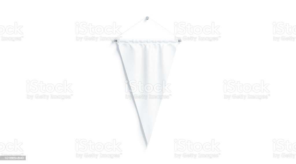 Blank white triangular pennant mock up, isolated stock photo