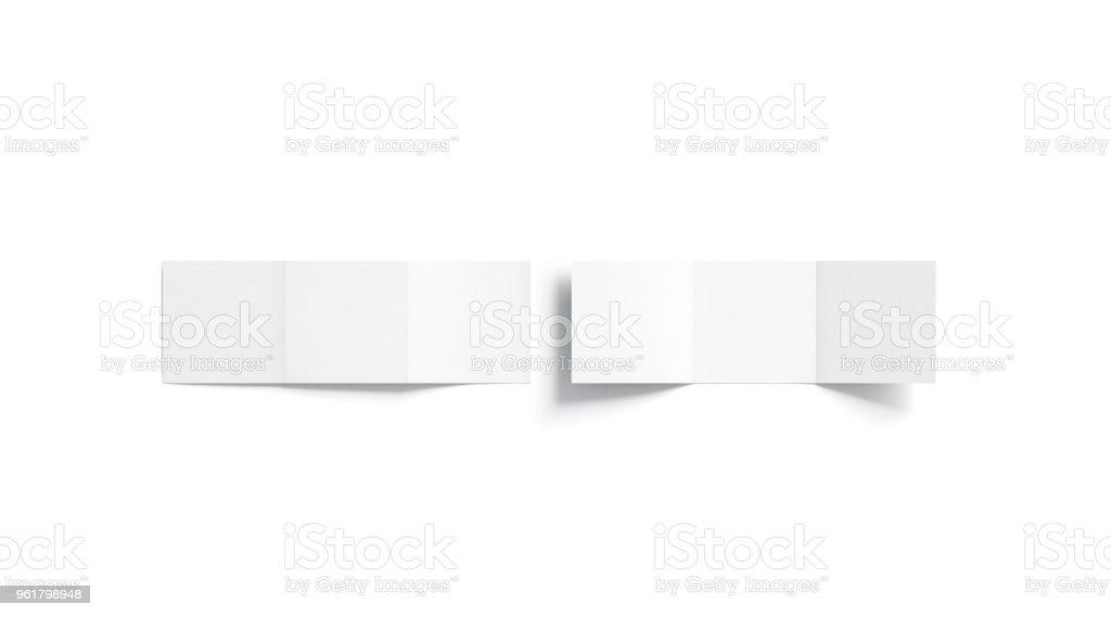 Leere weiße Trifold Broschüre mock-up, Ansicht von oben – Foto