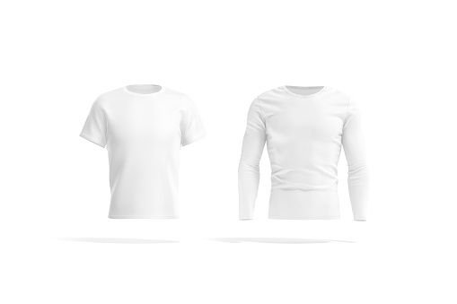 Blank white t-shirt and longsleeve mockup, front view, 3d rendering. Empty classic tshirt and jersey with long sleeve mock up, isolated. Clear man fit clothing model template.