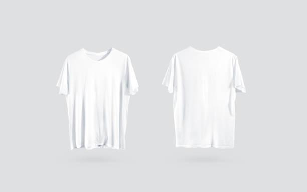 lege witte t-shirt voorzijde en achterzijde uitzicht, ontwerp mockup - te groot stockfoto's en -beelden