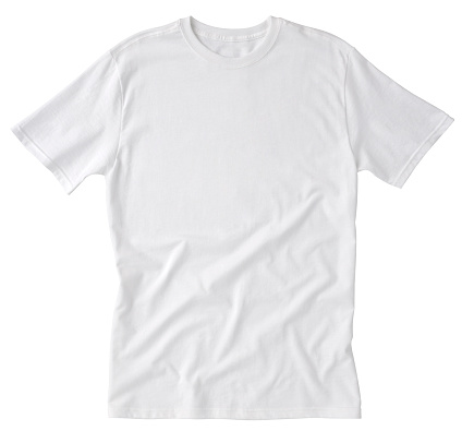 Front of a clean White T-Shirt, wrinkled on the bottom for additional texture, waiting for you to add your own logo, Graphics or words. Clipping Path. Single shirt - about 10