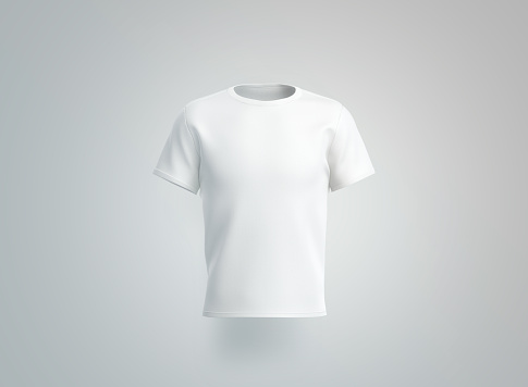 Blank white t-shirt mockup. isolated, front view, 3d rendering. Empty cotton tshirt with sleeve mock up. Clear unisex tee-shirt for uniform. Classic clothe model for print template.