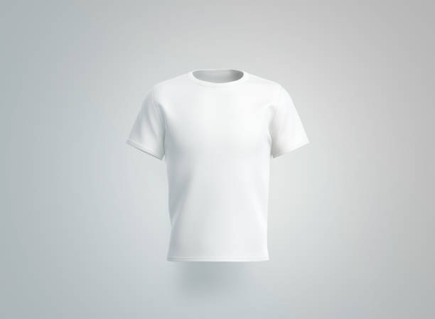 Blank white t-shirt mockup. isolated, front view Blank white t-shirt mockup. isolated, front view, 3d rendering. Empty cotton tshirt with sleeve mock up. Clear unisex tee-shirt for uniform. Classic clothe model for print template. white t shirt stock pictures, royalty-free photos & images