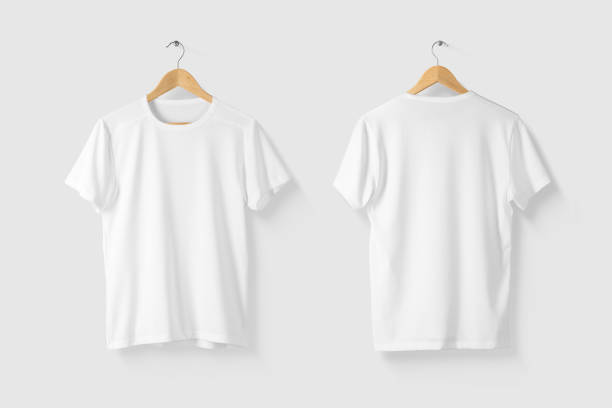Blank White T-Shirt Mock-up on wooden hanger, front and rear side view. Blank White T-Shirt Mock-up on wooden hanger, front and rear side view. High resolution. coathanger stock pictures, royalty-free photos & images