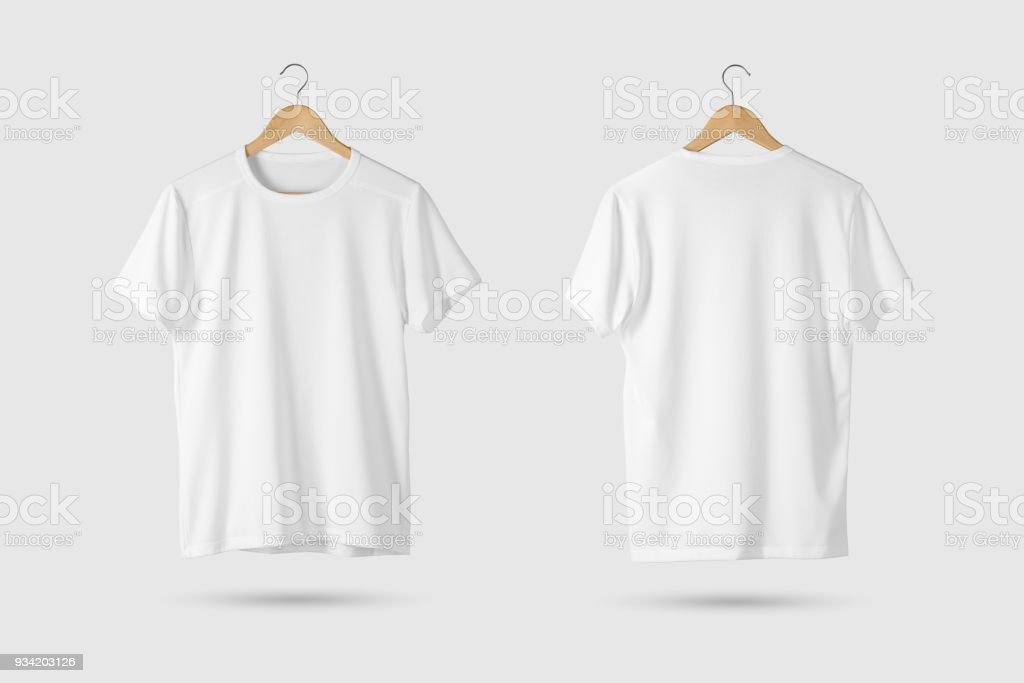 Blank White T-Shirt Mock-up on wooden hanger, front and rear side view.