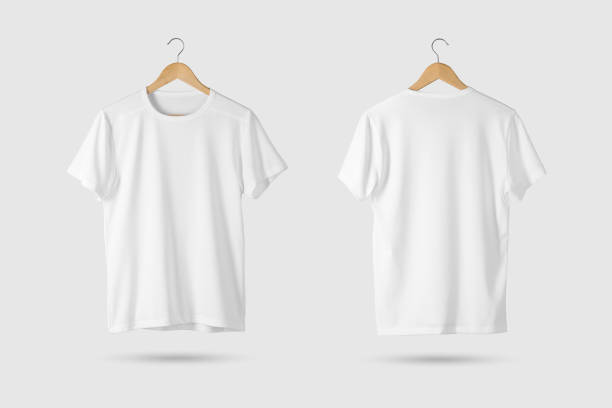 Blank White T-Shirt Mock-up on wooden hanger, front and rear side view. stock photo