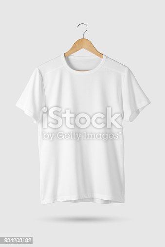 blank white tshirt mockup on wooden hanger front side view