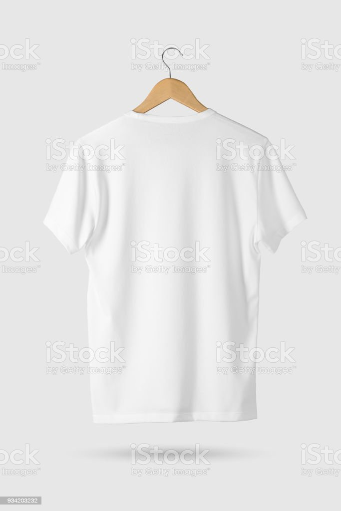 Blank White Tshirt Mockup On Wooden Hanger Rear Side View Stock