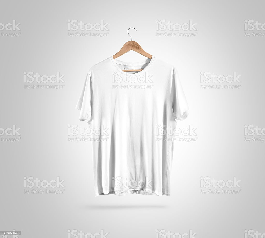 Blank white t-shirt on hanger, design mockup, clipping path - foto de stock
