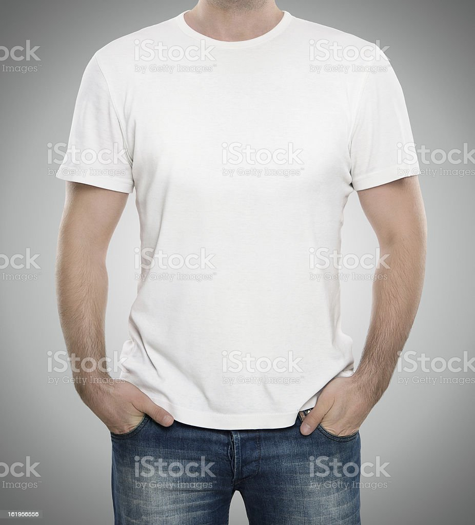 Blank white t-shirt with copy space stock photo