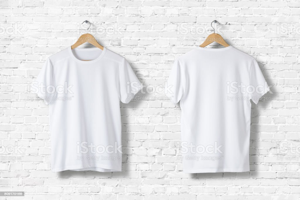 Blank White T-Shirts Mock-up hanging on white wall, front and rear side view . Ready to replace your design stock photo