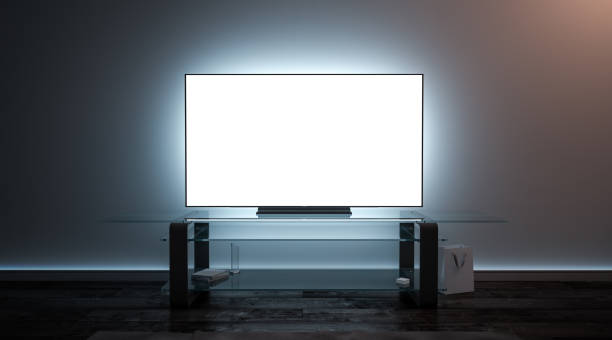 Blank white tv screen interior in darkness mockup Blank white tv screen interior in darkness mockup, front view, 3d rendering. Empty telly plasma display in living room mock up. Clear smart panel monitor on glass shelf template. liquid crystal display stock pictures, royalty-free photos & images