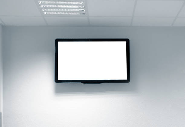 Blank white tv screen on the wall stock photo