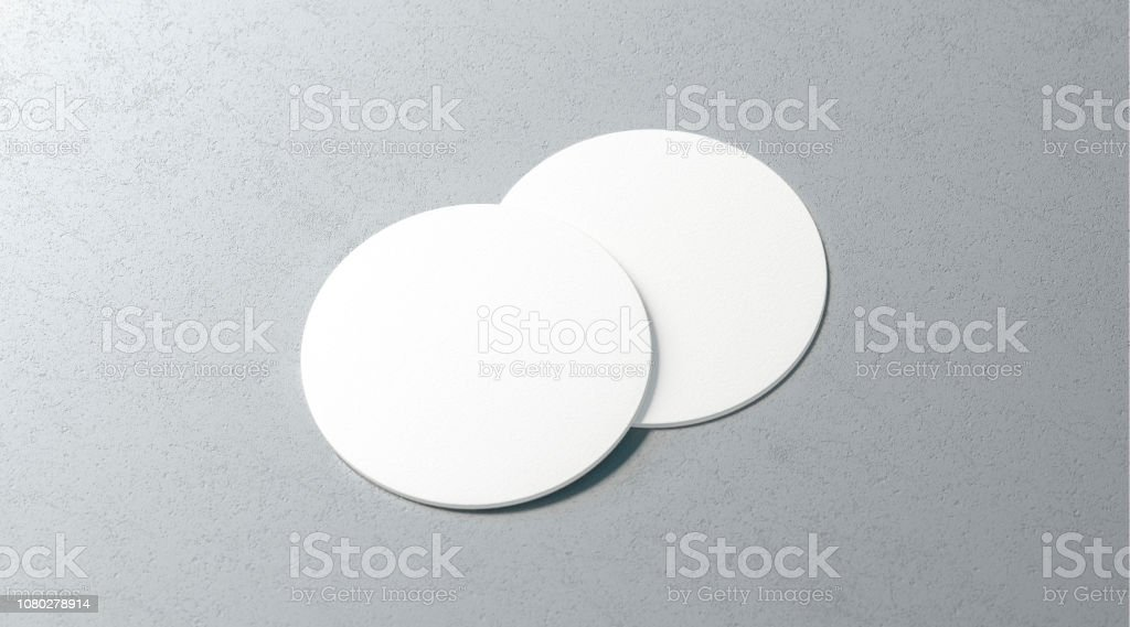 Blank white two beer coasters mockup set on surface stock photo