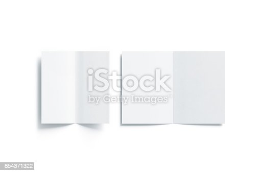 1221251713 istock photo Blank white two folded a5 and dl booklet mock up 854371322