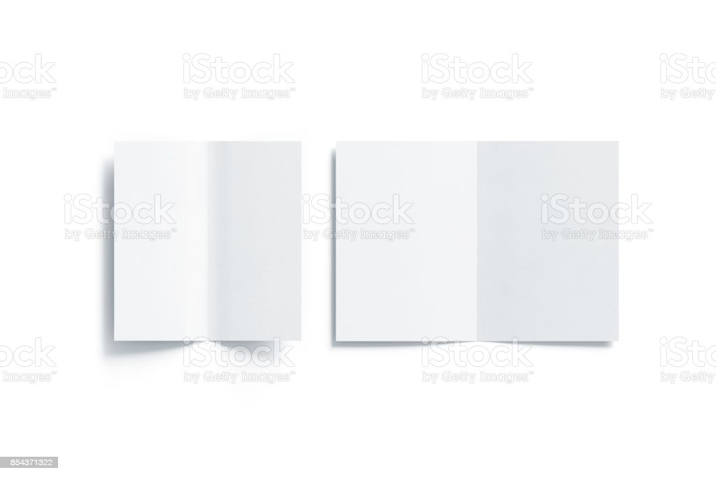 Blank white two folded a5 and dl booklet mock up stock photo