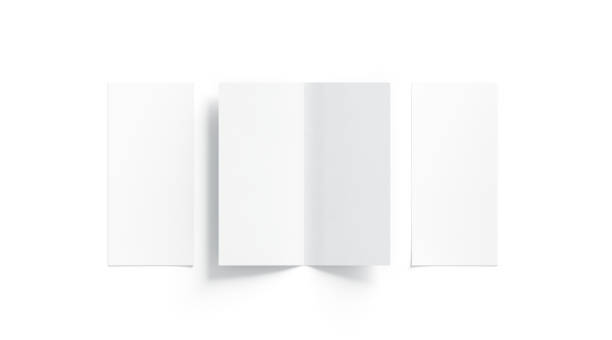 Blank white two folded booklet mock up, opened and closed stock photo