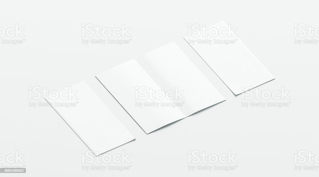 Blank white two folded booklet mockup, opened and closed stock photo