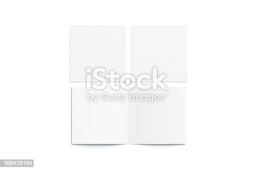887572514istockphoto Blank white two folded square booklet mock up, opened closed 936428194