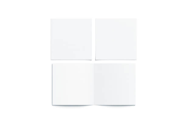Blank white two folded square booklet mock up, opened closed Blank white two folded square booklet mock up, opened and closed, front and back side, top view, 3d rendering. Plain twofold brochures mockups set isolated. Book cover and flier inside, copy space. square composition stock pictures, royalty-free photos & images