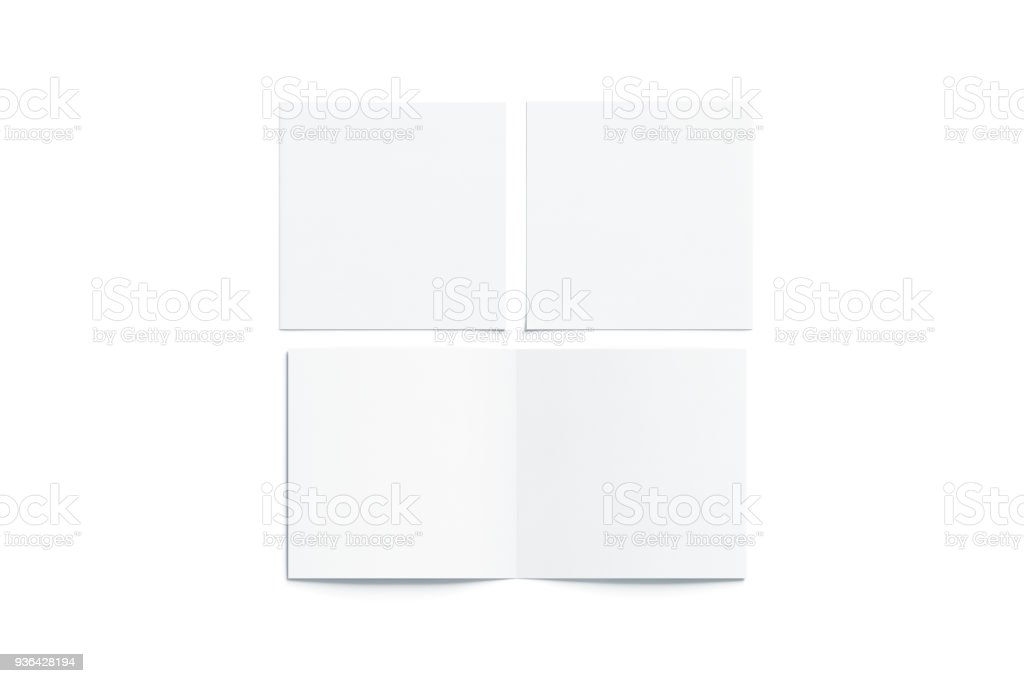 Blank white two folded square booklet mock up, opened closed stock photo