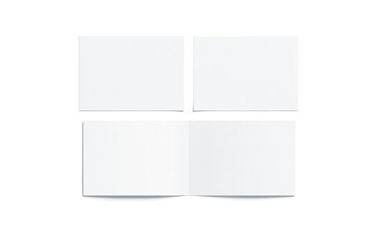 Blank white two folded wide booklet mock up, opened and closed, front and back side, top view, 3d rendering. Plain twofold brochures mockups set isolated. Book cover and flier inside, copy space.