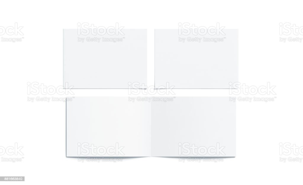 Blank white two folded wide booklet mock up stock photo