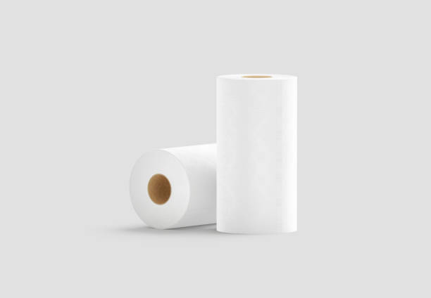 Blank white two paper towel mockup stand and lying stock photo