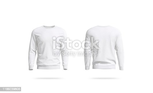 istock Blank white unisex sweatshirt mockup, front and back view 1199239805