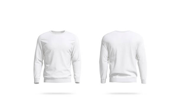 Blank white unisex sweatshirt mockup, front and back view stock photo