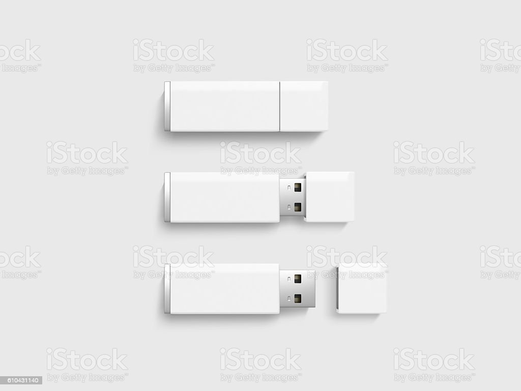 Blank white usb drive design mock up set, clipping path stock photo