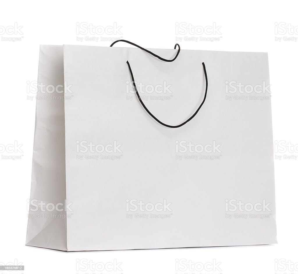 Blank White Used Paper Bag Isolated royalty-free stock photo