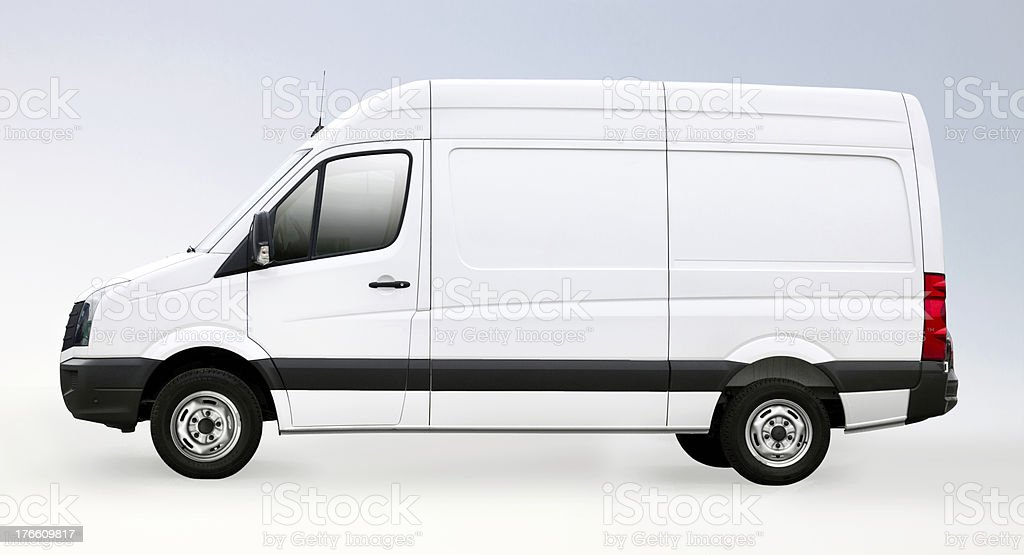 Blank white van with clipping path royalty-free stock photo
